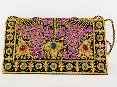 Zardosi embroidered Black Velvet Clutch Silk Thread by GoDoozy