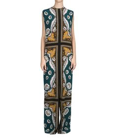 a30acfa1a8 Valentino Long silk jumpsuit with print