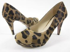 PRADA Leopard Print Pony Skin Rounded Toe Platform Pumps Shoes Sz 37.5 7.5 at www.ShopLindasStuff.com