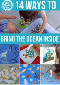 14 Ways to Bring The Ocean Inside--Montessori Trays, ocean in a bag, ocean science, sensory bins, sand clay Ocean Activities, Preschool Activities, Ocean Crafts, Fun Crafts, Kindergarten, Ocean Unit, Sea Theme, Ocean Themes, School Themes