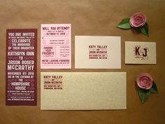 Red-Pink-Screenprinted-Wedding-Invitations-Suite