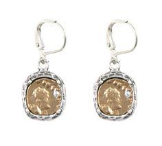 GOLD PAVIA COIN & FRAME DANGLE EARRINGS