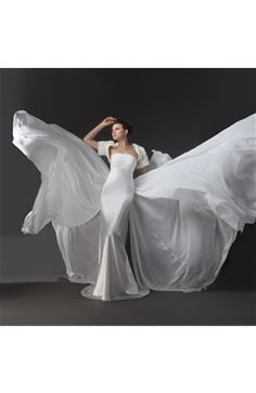 Pleated Strapless Neckline Panel Satin Wedding Dress with Ruffled Shrug