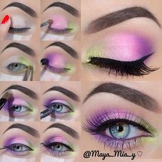 Pretty Neon Colors by Maya Mia! #Eye #makeup #bellashoot    Love the way she uses yellow instead of white to brighten the eyes. I will have to remember this!