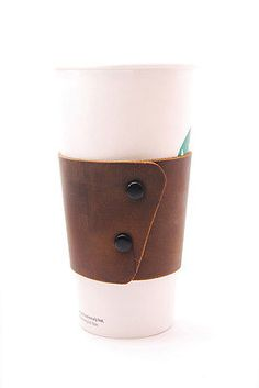 Brown EcoFriendly and Reusable Stoned Oil Leather Coffee Cup Sleeve with Snaps More