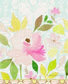 Vintage Floral Art Print by stephanieryanart on Etsy, $22.00