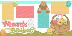 svg file scrapbook page kit easter eggs bunny