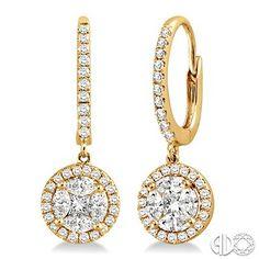 7/8 Ctw Round Cut Diamond Dangle Earrings in 14K Yellow Gold