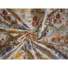 heavy satin weave silky beige multi colour brocade fabric