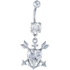Heart CZ Arrow & Anchor Dangle Belly Button Ring at FreshTrends.com