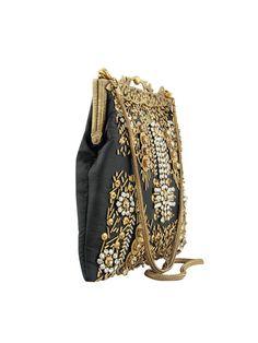 Vintage Style Black Evening Bag Black Silk Bag by JaipurStitch