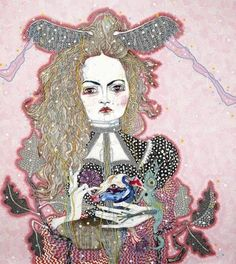 "Brilliant portrait by iconic Australian artist Del Kathryn Barton, ""The Daughter"" [acrylic, gouache, watercolour and ink on polyester canvas]"