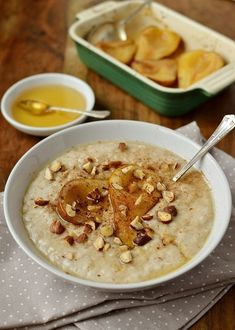 Vanilla almond milk porridge with honey roast pear, dairy free and easily adapted to be vegan.