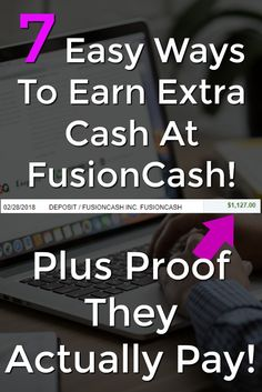 Learn 7 Easy Ways To Make Extra Cash At Fusion Cash plus see proof that they actually pay! Earn Extra Cash, Making Extra Cash, Extra Money, Earn Money From Home, Way To Make Money, Make Money Online, Online Income, Online Jobs, Online Job Opportunities