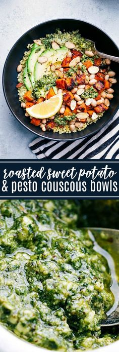 The BEST roasted sweet potato couscous bowls with pesto, avocado, honey roasted almonds, and white beans. Healthy vegetarian meal!! via chelseasmessyapron.com