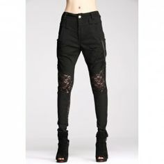 $22.99 Lace Splicing Solid Color Skinny Fashionable Style Polyester Women's Pants