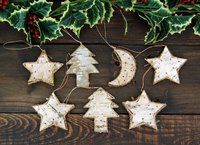 Elfmade - German Wooden Birch Christmas Tree Decorations Set of 7