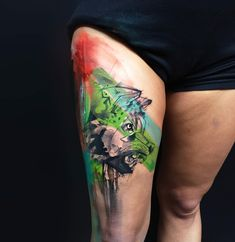 wolf tattoo on leg by ivana tattoo art Pop Color Tattoos by Ivana Belakova The self-taught Slovakian artist initially started working in black and grey, but has since expanded her palette. That transition, led to her developing a style that combines the vibrant, chaotic nature of graffiti with fine art aesthetics—visuals that are harmonious, yet spontaneous at the same time. #ink #tattoo #tattoos #art