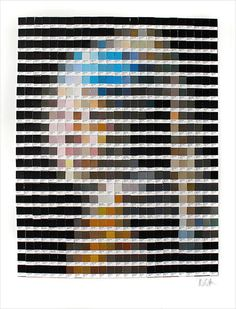 Classic paintings recreated using Pantone color chips