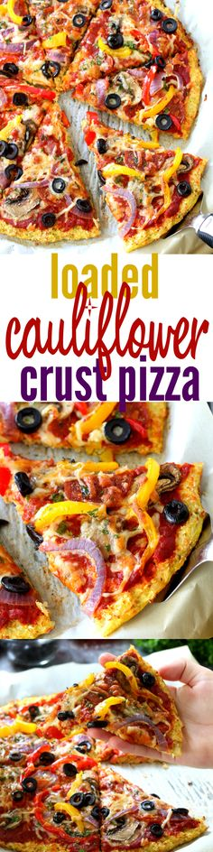 Loaded Pizza on Cauliflower Crust will satisfy even the most intense pizza craving. Low-carb, low-calorie and gluten-free, this pizza is figure-friendly and an absolute must try!