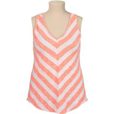 V-neck Chevron stripe plus size tank ($22) found on Polyvore