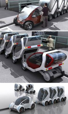 Stackable Futuristic Public Transit Cars from Reinventing the Automobile, MIT Press 2010 Futuristic Technology, Futuristic Cars, Design Transport, Urban Lifestyle, E Mobility, Future Transportation, Smart Car, Transporter, Cool Inventions