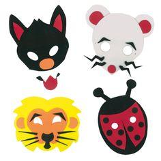 Kit complet pour créer 4 masques animaux en mousse caoutchouc (souris, coccinelle, lion et loup)