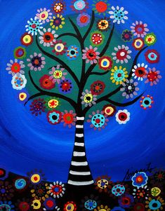 Tree Of Life by Pristine Cartera Turkus Tree Of Life Painting, Tree Of Life Art, Tree Art, Acrylic Painting Canvas, Fabric Painting, Canvas Art, Frida Art, Indian Folk Art, Tree Illustration