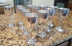 Set of Twelve Sterling Silver Maciel Taxco Wine Goblets