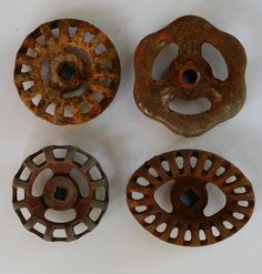 ENJOY Flat rate $2.00 SHIPPING UPON CHECKOUT ON SELECT BATCHES OF HANDLES! XO Jenise   Wonderful collection of 4 metal Vintage valve handles  (Lot 11` )  1 3/4 - 2 - diameter 2 1/4  wide oval  All Handles Soaked, Scrubbed and Lovingly Hand selected!  Fabulous patina!  Super Cool and Rare Beautiful Batch  Unique designs and craftsmanship!  Perfect for various creations,Steampunk,Drawer pulls etc!  Please Note: Handles pricing based upon Rarity,Size,and Materials $5.00 flat rate shipping…