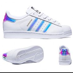 Adidas Superstars Metallic Iridescent Stripes New adidas superstars girls grade school trainers in iridescent stripes. Colors are white/white/metallic. The stripes changes color at different angles with hues of pink, blue, purple, silver. Depending on which angle you're looking at it from. • These are BIG KIDS size 7y which is equivalent to women 8.5/9. If you're not sure about sizing, I would suggest going to your local shoe store and try on a superstar big kids 7y before purchase! Brand…