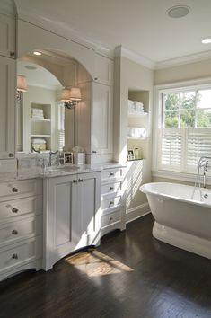 Sherwin Williams Natural Choice (7011) Arched mirror insert....custom cabinetry♥