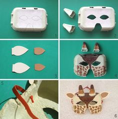 Idéia de mascara para o carnaval: girafa com tampa de caixa de ovo! #recycle #reuse #reduce ;)