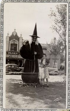 Vintage Halloween photo - Wonderful huge Witch with Cauldron