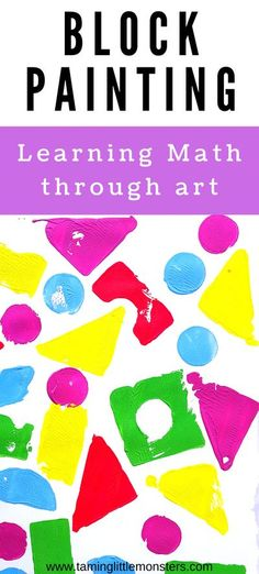 Block Painting - Process Art for kids. Use those old foam blocks to make art using shapes. Here are 4 different pictures you can make art with blocks. It's a fun way for toddlers and preschoolers to explore art, math and more.    Process Art | Arts and Crafts | Math | Toddler | Preschooler