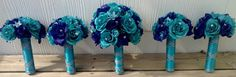 Malibu Blue & Royal Blue Bridal Bouquet Choose from 22 Rose Colors Rose by SilkFlowersByJean on Etsy, $75.00 Blue Rose Bouquet, Bouquet Turquoise, Rose Wedding Bouquet, Blue Roses, Bridal Bouquet Blue, Blue Bridal, Wedding Flowers, Malibu Blue, Silk Flowers