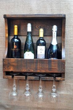 Four Bottle/Glass Rustic Wine Rack Handmade using Reclaimed Timber Wall Mount