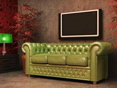 The Chesterfield sofa originated in the late 19th century and is commonly associated with English country homes and high-class designs. Chesterfield sofas are recognized by their tightly stuffed interior, leather upholstery, tufted backs and high, rolled arms. The arms are situated at the same height as the sofa's back for a sleek, uniform look. More traditional and formal designs feature a tufted seat with short, visible legs.