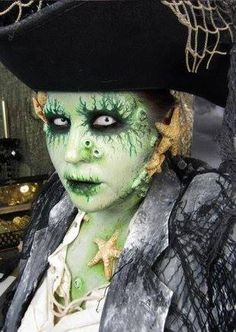 Pirate Makeup: Davy Jones  http://www.youtube.com/watch?v=K7ANdd3doVI <--