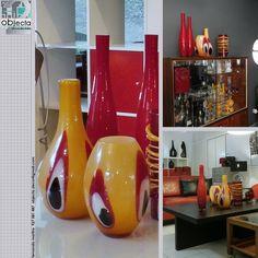 JARRAS RETRO (par) em vidro colorido... peças cheias de personalidade para casas especiais..... https://www.facebook.com/objecta.segunda.mao/
