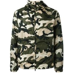 Valentino Windbreaker Jacket ($705) ❤ liked on Polyvore featuring men's fashion, men's clothing, men's outerwear, men's jackets, dad, army green, mens green military jacket, mens windbreaker jacket, mens camo jacket and mens olive jacket