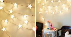 Kreatívny DIY nápad s návodom krok za krokom na krásnu vianočnú dekoráciu - Svietiaca girlanda v tvare hviezd, ktorá rozhodne zútulní Váš domov. Vianoce