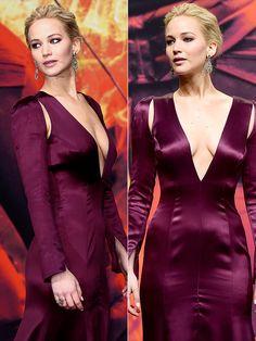 Jennifer Lawrence Bares Major Cleavage, Kicks Off Final <em>Hunger Games</em> Tour in Plunging Dress http://stylenews.peoplestylewatch.com/2015/11/04/jennifer-lawrence-hunger-games-mockingjay-premiere-dress/