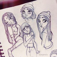 Sketching some girls ✌️#angiensca #sketch #doodle #girls #traditonalart #pigmasensei #lineart