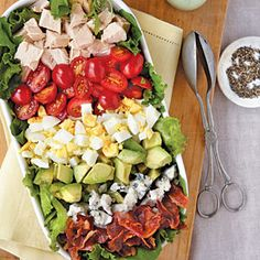 The fresh herbs in the Green Goddess dressing add another dimension of flavor to this classic lunch salad. View Recipe: Cobb Salad with Green Goddess Dressing Lunch Recipes, New Recipes, Salad Recipes, Healthy Recipes, Favorite Recipes, Goddess Dressing Recipe, Green Goddess Dressing, Cobb Salad, Gastronomia