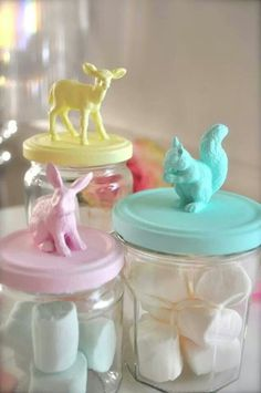 Mason jar crafts! Glue your favorite mini-animal to the lid and spray-paint. Voila!