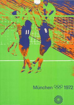 Olympische Spiele 1972 München DIN A0 Motiv Volleyball OLYMPIADE Otl Aicher