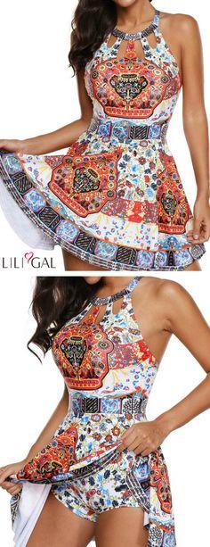 H Back Cutout Printed Swimdress and Shorts #liligal #swimwear #swimsuit