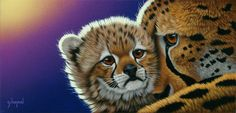 The Protector by Schim Schimmel. Big Cats Art, Cat Art, Here Kitty Kitty, Kitty Cats, Pet Tiger, Puzzle Art, Gifs, Special Girl, Animal Tattoos
