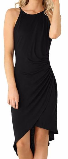 Clever Size M Motherhood Sleeveless Black Stretch Cotton Blend Dress Fuschia